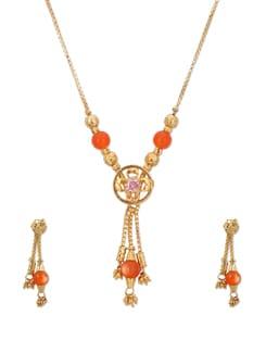 Orange & Gold Designer Necklace Set - A.J. Accessories