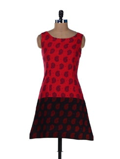 Red & Black Printed Short Dress - Desiweaves