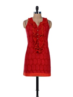 Printed Red Frill Dress - Desiweaves