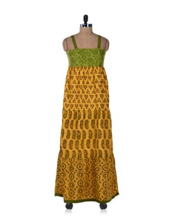 Strappy Green & Yellow Printed Dress - Desiweaves