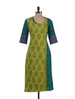 Printed Green & Blue Kurta - Desiweaves