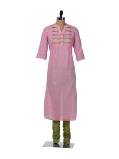 Pink & Green Kurta-Churidar Set - Desiweaves