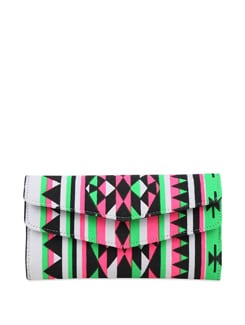 Multicoloured Double Flap Printed Clutch - SUNNY ACCESSORY