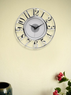 Chic White And Silver Analog Clock - BLACKSMITH