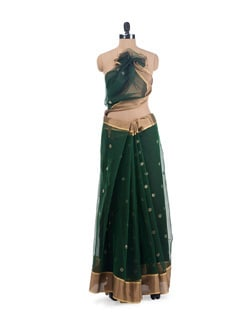 Green Polka Dotted Saree - URBAN PARI
