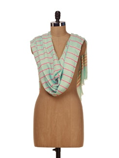 Light Sea Green Scarf With Hot Pink Stripes - HOS Designs