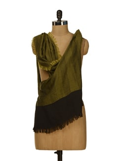 Elegant Scarf In Black And Bottle Green - HOS Designs