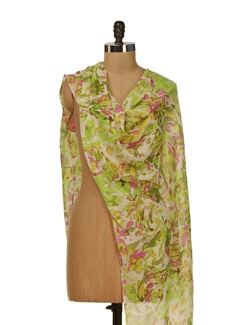 Abstract Printed Scarf In Lime Green - HOS Designs