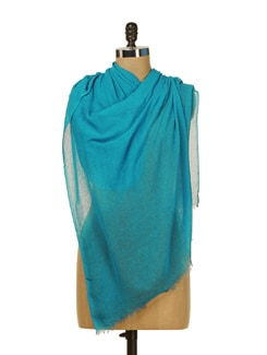 Khadi Silk Scarf In Teal Blue - HOS Designs