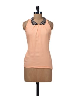 Orange Sleeveless Top - Nangalia Ruchira