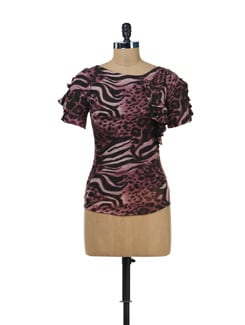 Purple Animal Print Ruffled Top - SPECIES