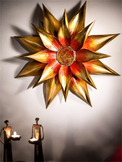 Hand Painted Flower Wall Art With Mosaic Work - Malhar