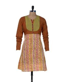 Churidar Sleeves Printed Kurta - Jaipurkurti.com