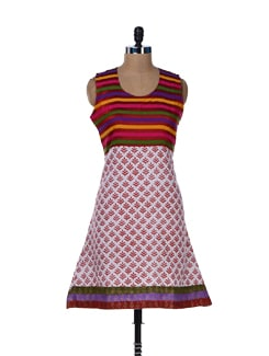 Striped Sleeveless Kurti - Jaipurkurti.com