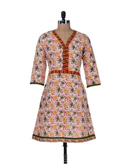 Cotton Printed White Kurta - Jaipurkurti.com