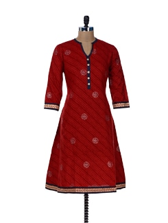 Printed Red Kurta With Gota Lace - Jaipurkurti.com