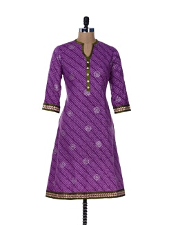 Printed Purple Kurta With Gota Lace - Jaipurkurti.com