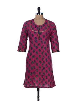 Printed Pink Kurta With Pintucks - Jaipurkurti.com