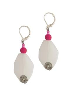 White & Pink Beaded Earrings - Eesha Zaveri; Jewellery By Design