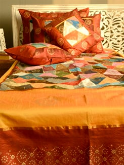 Sunset Orange Bed Cover With Matching Bed Covers - Ruhaan's