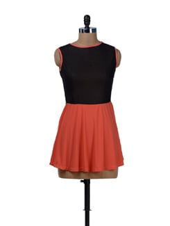 Shimmering Orange And Black Party Dress - Sanchey