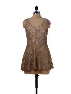 Earthy Brown Lace Dress With A Sexy Back - Sanchey