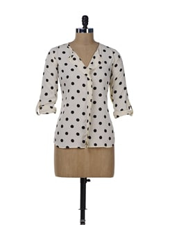 Off-White & Black Polka Fever Shirt - Miss Chase