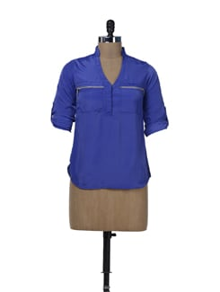 Cobalt Blue Zip Me Up Shirt - Miss Chase