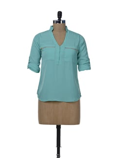 Sea Green Zip Me Up Shirt - Miss Chase