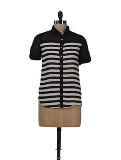 Flowy Black & White Striped Shirt - Miss Chase
