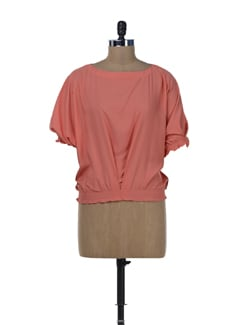 Stylish Coral Balloon Top - Miss Chase