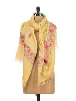 Pastel Yellow Embroidered Shawl - Vayana
