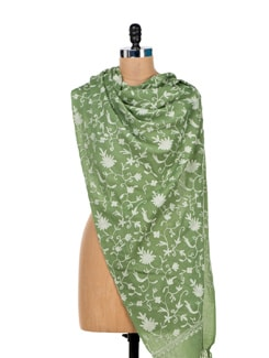 Pista Green Embroidered Shawl - Vayana