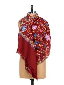 Maroon Floral Embroidered Shawl - Vayana
