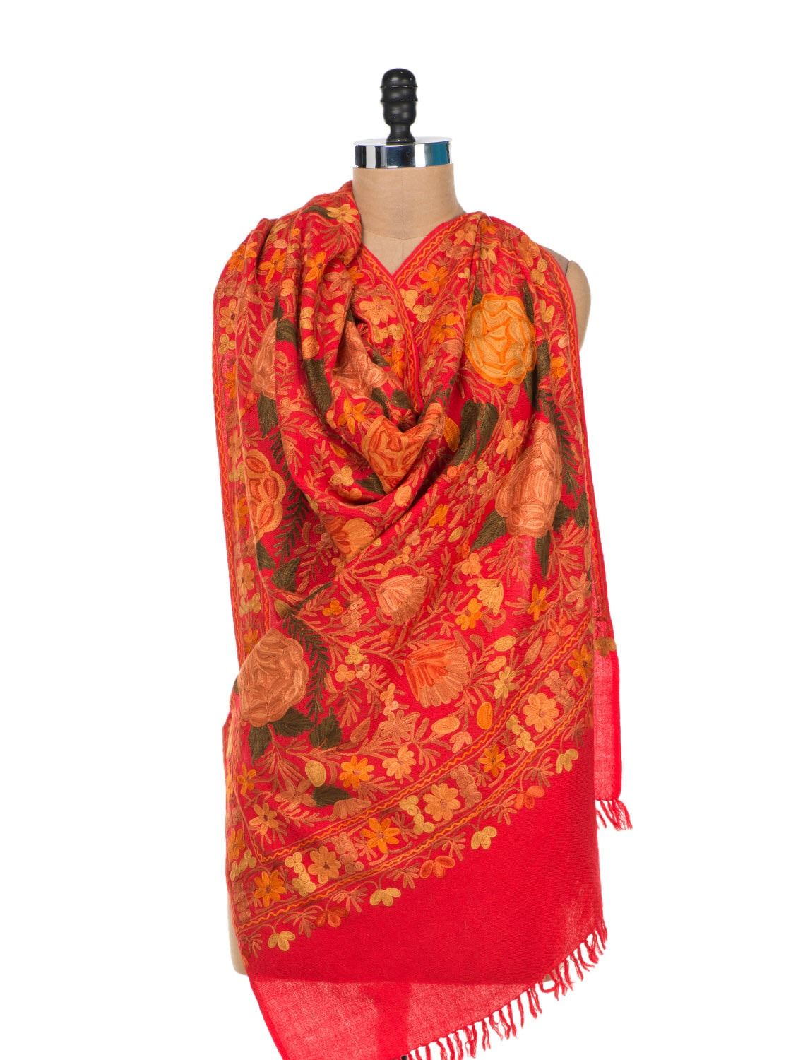 Red Roses Embroidered Shawl - Vayana