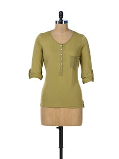 Olive Green Front Pocket Top - MARTINI