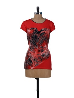Simplistic Red Printed Top - MARTINI
