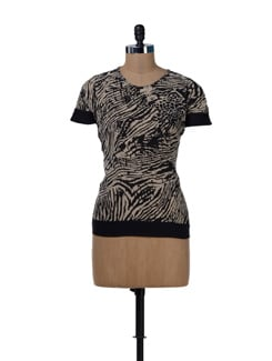 Beige & Black Printed Panel Top - MARTINI