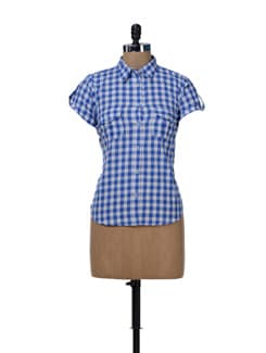 Stylish Blue & White Check Shirt - MARTINI