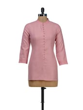 Bandhgala Kurti In Baby Pink -  online shopping for kurtis
