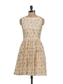 Elegant Beige Sleeveless Dress - Nineteen