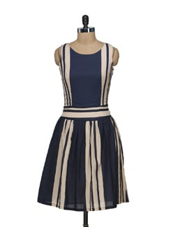 Beige & Navy Striped Sundress - Nineteen