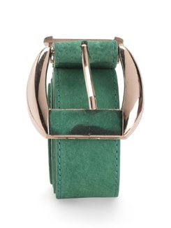 Suede Belt With Broad Gold Buckle - Nineteen