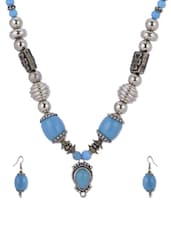 Cobalt Blue Stone Necklace Set - Shilpkritee