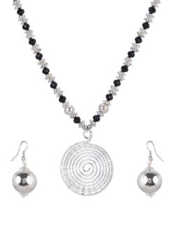 Black & Silver Crystal Necklace Set - Shilpkritee