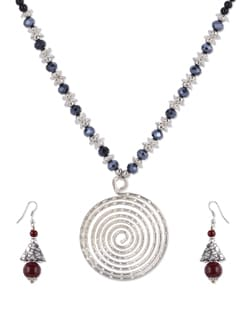Blue & Silver Beaded Necklace Set - Shilpkritee