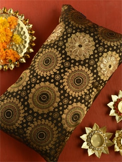 Gorgeous Black And Gold Cushion Cover - Ambbi Collections