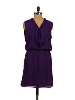 Stylish Purple Bow Dress - Besiva