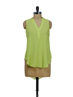 Lime Green Hi-Low Sheer Top - Besiva