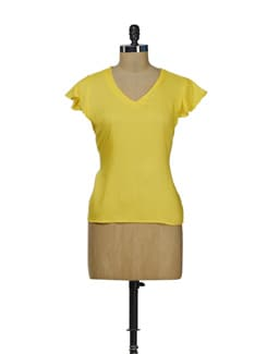 Yellow Top With Ruffled Sleeves - Besiva